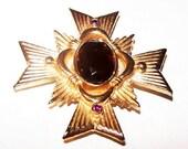 Maltese Cross Brooch Pin Signed Avon Topaz & Pink Rhinestones Gold Metal 1 3/4' Vintage
