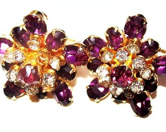 "Coro Purple Earrings Layered Rhinestones Flower Design Screw On Backs 1"" Vintage 1940s-50s"