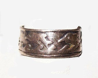 "Dolphin Sterling Silver Ring Band Style Ocean Nautical Design Sz 8.5"" Vintage"