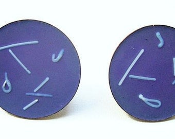 "Copper Blue Enamel Earrings Screw Back Style Round Circle Design 1"" Vintage 1940s-50s"