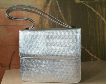 ROSART BAG )( Vintage 60s Silver Handbag )( Evening Purse )( Mid Century