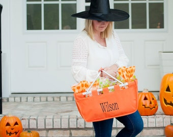 Orange Market Basket - Personalized Embroidered Halloween Basket Trick or Treat Bridesmaid Gift Teacher Gift