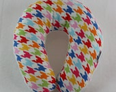 Colorful Houndstooth Travel Neck Pillow for Children and Adults