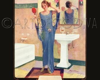 Vintage DECO Blue Flapper Girl Dress BATHROOM Bath Tub Sink Beauty Advertising Poster Fine Art Print
