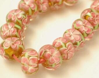 Encased Garden Lampwork Glass Rondelle Beads Double Layer Pink Flowers