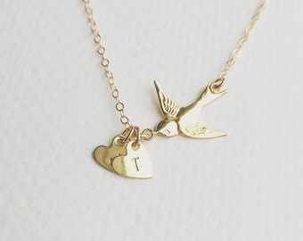 Personalized Gift - Gold Bird Initial Necklace - 14K Gold Filled Swallow Bird Initials Necklace - Everyday Jewelry - Mothers Necklace