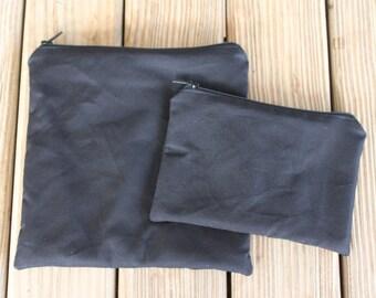 Lunch Bag Combo, Black - Zipper Sandwich Bag and Zipper Snack Bag