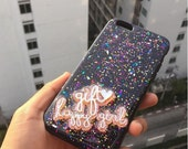 Black glitterly case for Iphone 6 /6 plus,galaxy s6 edge,iPhone 5/5s,  galaxy note2/3/4/5, S3/4/5 glitter case with your name