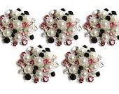 Metal Rhinestone Buttons - Pearl Sunburst Button - MEDIUM 26mm set of five - Hot Pink and Black
