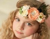 Handmade Flower Crown Headband, Easter Headband, Boho Chic Headband, Vintage Floral Headband, Kid's Photography - Peaches - Fits all Sizes