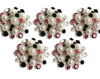 Metal Rhinestone Buttons - Pearl Sunburst Button - MEDIUM 26mm set of five - Hot Pink and Black