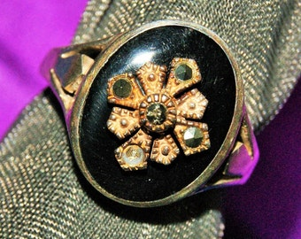 DECO ENAMEL MARCASITE Ring Sterling c1935