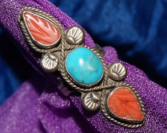 VINTAGE ZUNI RING Turquoise Sterling c1940