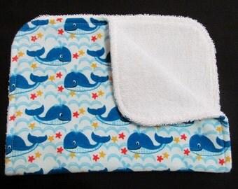 Blue Whale Burp Cloth, Baby Burp Cloth, Flannel Burp Cloth