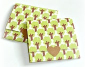 trees, envelope style mini cards, handmade mini note cards, set of 8 small square trifold cards, blank small note cards, lunch box notes