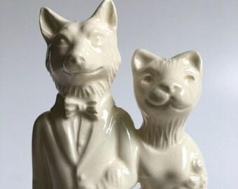 Fox Weds Cat Handmade Ceramic Wedding Cake Topper