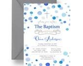 Blue Dot Baptism Invitation Boys Party Printable or Printed Invite, Christening Invitation, Joyful Celebration, Kids Religious Invite (BLDB)