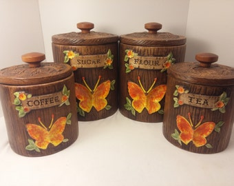 Vintage Treasure Craft Kitchen Ceramic Canister Set with  hand painted Butterflies - Boho, Country kitchen, Flour, Sugar, Coffee, Tea, Jars