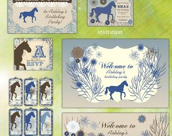 Equestrian Horse Birthday Party Pack Set - Blue & Brown - Digital Printable
