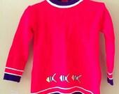 Vintage mod knit fish shift dress toddler  Size 12-18 months