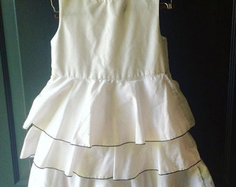 Vintage handmade white ruffle tiered party dress 6x