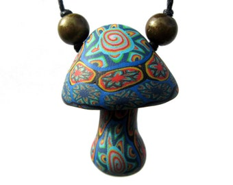 Mushroom pendant, millefiori tribal necklace with star and spiral patterns, handmade from polymer clay, one of a kind, on adjustable cord