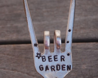 BEER GARDEN hand stamped Flower Pot Marker Herb box Stars and DOTS  house plants