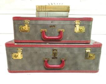 Vintage Suitcase Luggage Set Gray Red  Midcentury Luraline Fifth Avenue