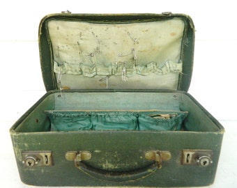 Vintage Fabric Suitcase Green Case