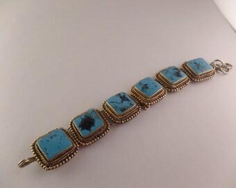 DaVinci Sterling Custom made Blue Cabochon Bracelet