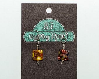 E095K - Millefiori glass square earrings