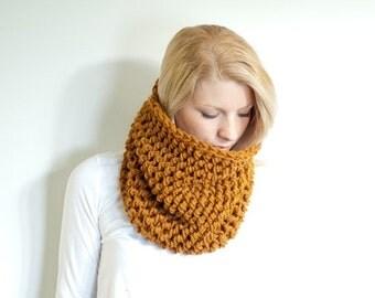 WINTER SALE The BARNWELL cowl - Chunky Cowl Neckwarmer Scarf - amber - Wool Blend