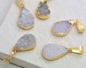 Small Neutral Colored Druzy Drop Cut Gold Plated Druzy Gemstone (AL037)