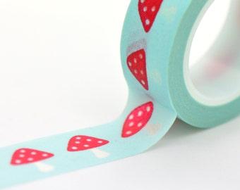 Washi Tape Red Toadstool on Aqua Blue Decorative Tape Wedding Decor DIY Craft Decor ()