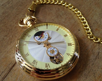 Large Gold Pocket Watch Necklace Wind Up Gears Beveled GLASS Window 24K Gold Plated Brass Really WORKS