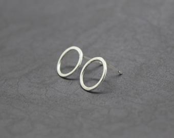 Silver Karma Earrings - Solid Sterling Silver 925 Eternity Infinity Forever Circle Ring Hoop Friendship Studs Handmade