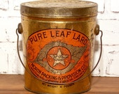 Vintage North Star Pure Leaf Lard Tin Can 4 lb with LId and Handle