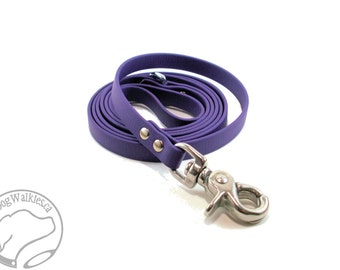 """Royal Purple Small Dog Leash - 1/2"""" (12mm) Wide Biothane Leash - Light Dog Leash - Choice of: 4ft, 5ft, 6ft (1.2m, 1.5m, 1.8m) and Hardware"""