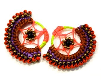 VINTGE: 2 Beaded Earring Loops - Native American Design - Earring Loops -  (16-A2-00005115)