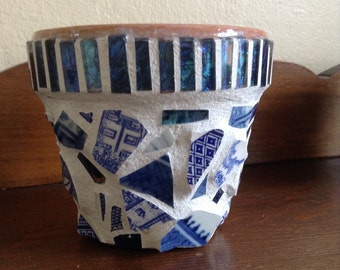 Vintage teacup mosaic terra cotta pot