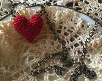 Amigurumi Heart Necklace