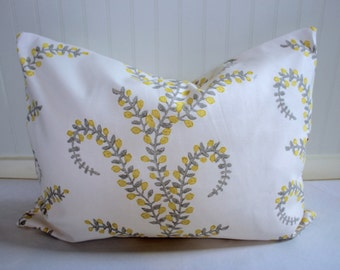 Yellow, Taupe and Ivory Vine Pillow Covers in Designer Prasana Sunglo Fabric