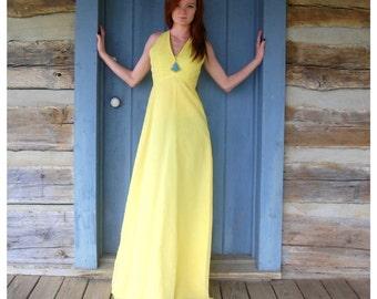Vintage Yellow Maxi Dress Boho Chic Bohemian Style Festival Dress XS