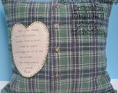Man's Memory Pillow SLIPCOVER & PILLOW FORM Made From Shirt of Loved One