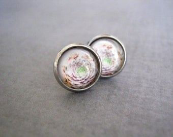 Succulent Cactus Stud Earrings : White Glass Photo