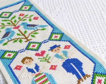 Wall hanging folklore embroidery, vintage Swedish wall decoration, cross stitch folk art, blue and green
