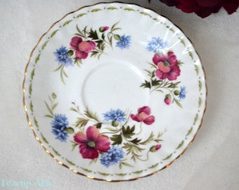 Royal Albert Flowers of the Month August Replacement Saucer Only, English Bone China Saucer,  ca. 1970
