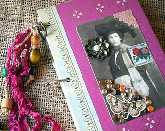 Mixed-Paper Journal - Reader's Digest Book Covers - Jane Eyre, Old Photograph Collage, Junk Journal, Altered Art Notebook, Vintage Chic