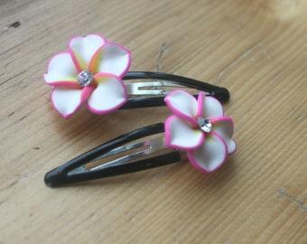 Plumeria Hair Clips, Tropical Flower Hair Clips, Hawaii Hair Clips, Pink Flower Hair Clips