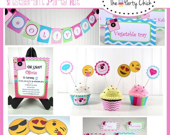 Instagram Inspired , Party Invitations & Decorations - Printable Party Kit - Editable Text you personalize at home - Instant Download